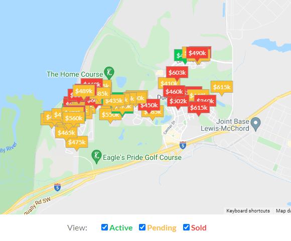 market update map for Dupont Wa with homes sold and pending in last 30 days